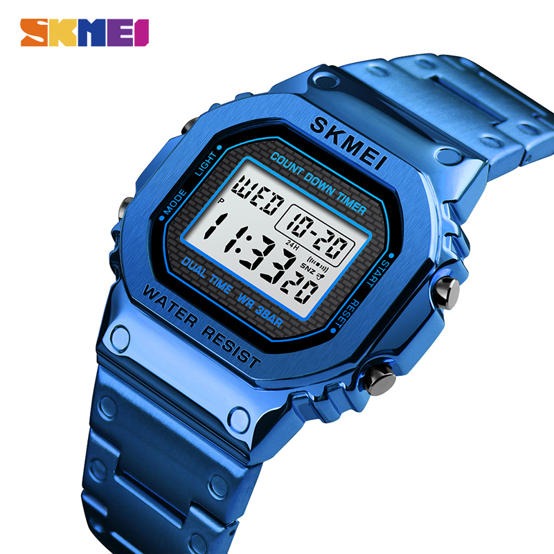 <font><b>SKMEI</b></font> Men Electronic Digital Watch Alarm Clock Male Waterproof Wristwatch Sport Watches Montre Homme <font><b>1456</b></font> Clock Men's Watches image
