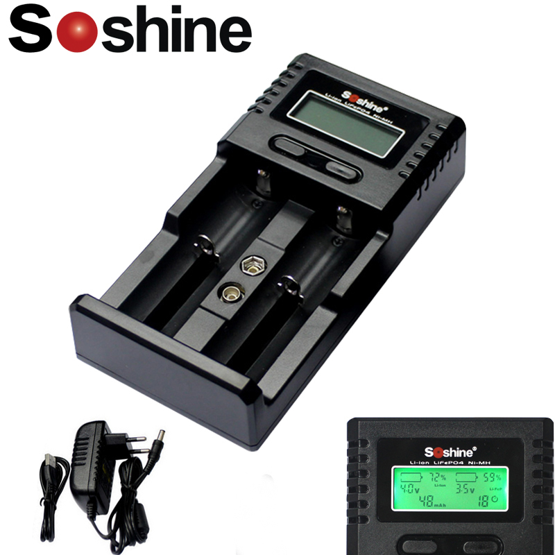 Soshine H2 Universal LCD Display Intelligent Smart <font><b>Battery</b></font> Charger for <font><b>Li</b></font>-<font><b>ion</b></font> 26650 18650 Ni-MH AA AAA LiFePO4 <font><b>16340</b></font> <font><b>Battery</b></font> image