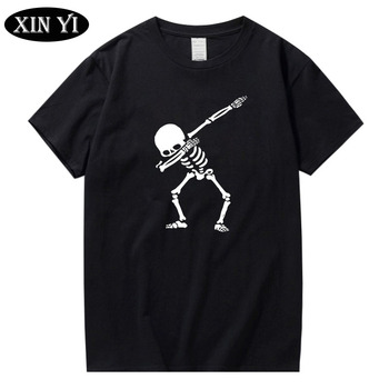 XIN YI Men's t-shirt High quality 100% cotton for men short sleeve print skull t shirt casual o-neck men tee shirts Funny tshirt недорого