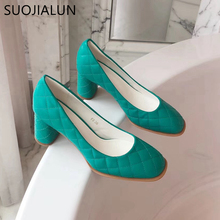 купить SUOJIALUN Women Pumps 2019 New Brand Square Toe High Round Heels Women Shoes Ladies Elegant Work Shoes Sexy Wedding Shoes по цене 1485.64 рублей