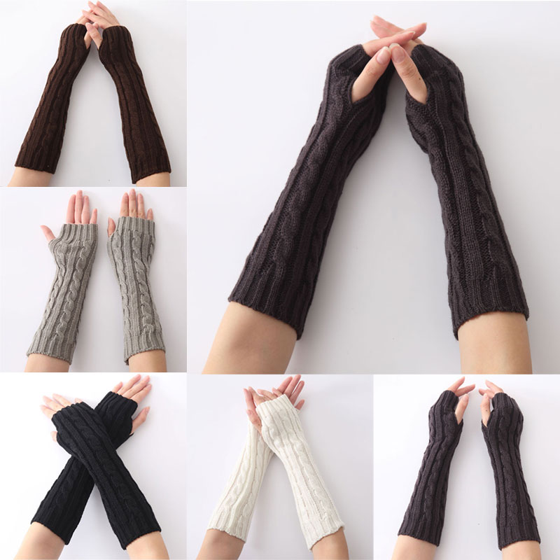 Newly 1pair Long Braid Cable Knit Fingerless Gloves Women Handmade Fashion Soft Gauntlet Practical Casual Gloves