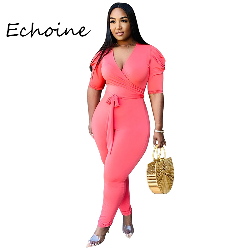 2020 Spring Casual Women Jumpsuit Deep V-neck Pleated Short Sleeves Bodysuit Bandage Rompers Womens Jumpsuit Solid 3 Color