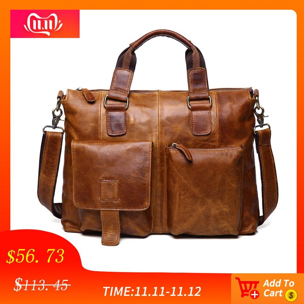 JOGUJOS Genuine Leather Crazy Horse Man Briefcase Luxury Designer Men's Briefcases Business Shoulder Messenger Bag Travel Bag