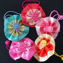 1Pcs/lot Sweet Lollipop Ribbon Flower Hair Tie Rope Cute Band Colorfully Boutique Elastic Lovely Accessories