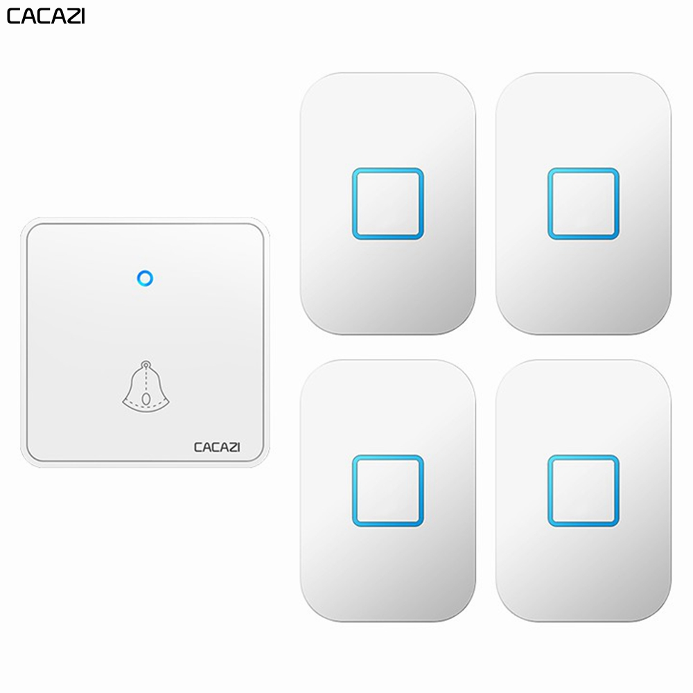 CACAZI Wireless Doorbell Waterproof 300M Remote CR2032 Battery 1 Transmitter 4 Receiver US EU UK Plug Smart Home Ring Bell Chime
