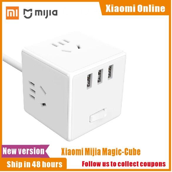 Original Xiaomi Mijia Magic Cube 2 In 1 USB Charger Power Strip Adapter 6พอร์ตSocket Converterพื้นที่ประหยัดพลังงานปลั๊กOutlet