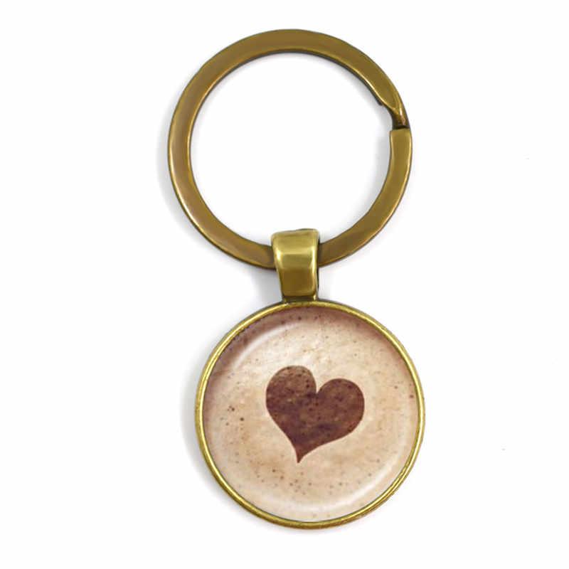 Cabochon De Vidro de café Latte Chaveiros de Chocolate Escultura de Impressão Amor Do Coração Flor do Trevo De Neve Gato Charme Chaveiro Dom Chave Titular