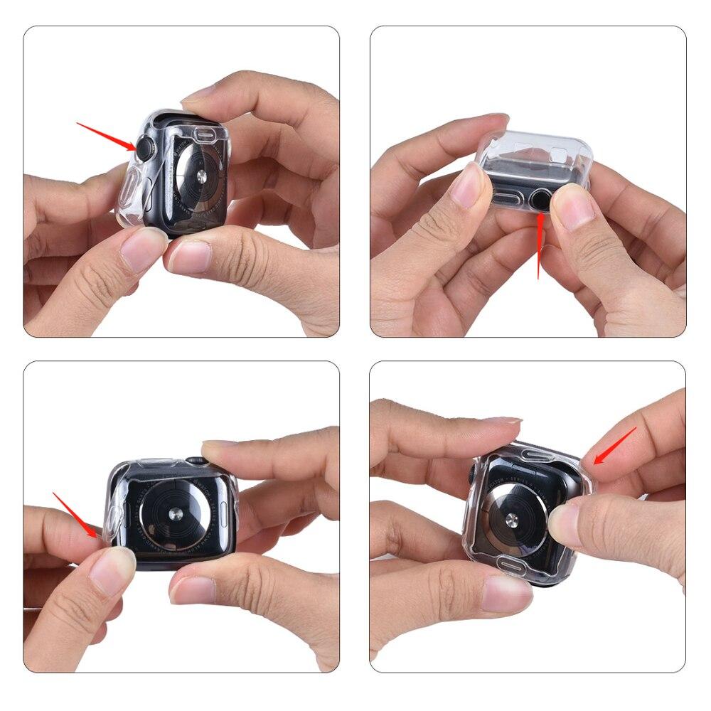 ProBefit 360 ince saat kapağı için Apple Watch Case 5 4 3 2 1 42MM 38MM yumuşak temizle TPU ekran koruyucu için iWatch 4 3 44MM 40MM