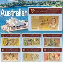 WR Оптовая Австралия 100 долларов Золотая фольга Банкнота с Coa рамка новый AUD 100 поддельные деньги без валюты банкноты подарок для мужчин