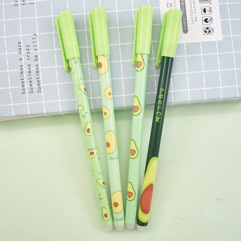 2 Pcs Cute Avocado Erasble Pen Kawaii Fruit Gel Pen Novelty Washable Magical Pen For Kids Gifts School Office Stationery