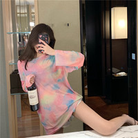 2019 Summer New Style Loose Fit Versatile Rainbow Breathable Gauze Mid length Coat Long sleeved T shirt