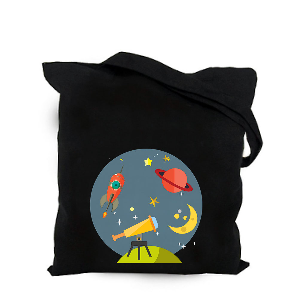 2019 Cute Space Alien Black Cotton Canvas Bag Customized Kawaii Girl Tote Bag Custom Shopping Bags With Logo For Men Or Women