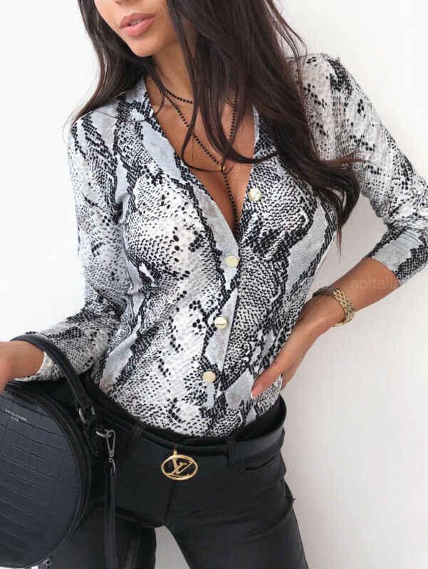 Mulheres de pele de cobra camisas impressas senhoras quimono tops blusa manga longa turn down collar senhoras elegantes blusas casuais blusas finas