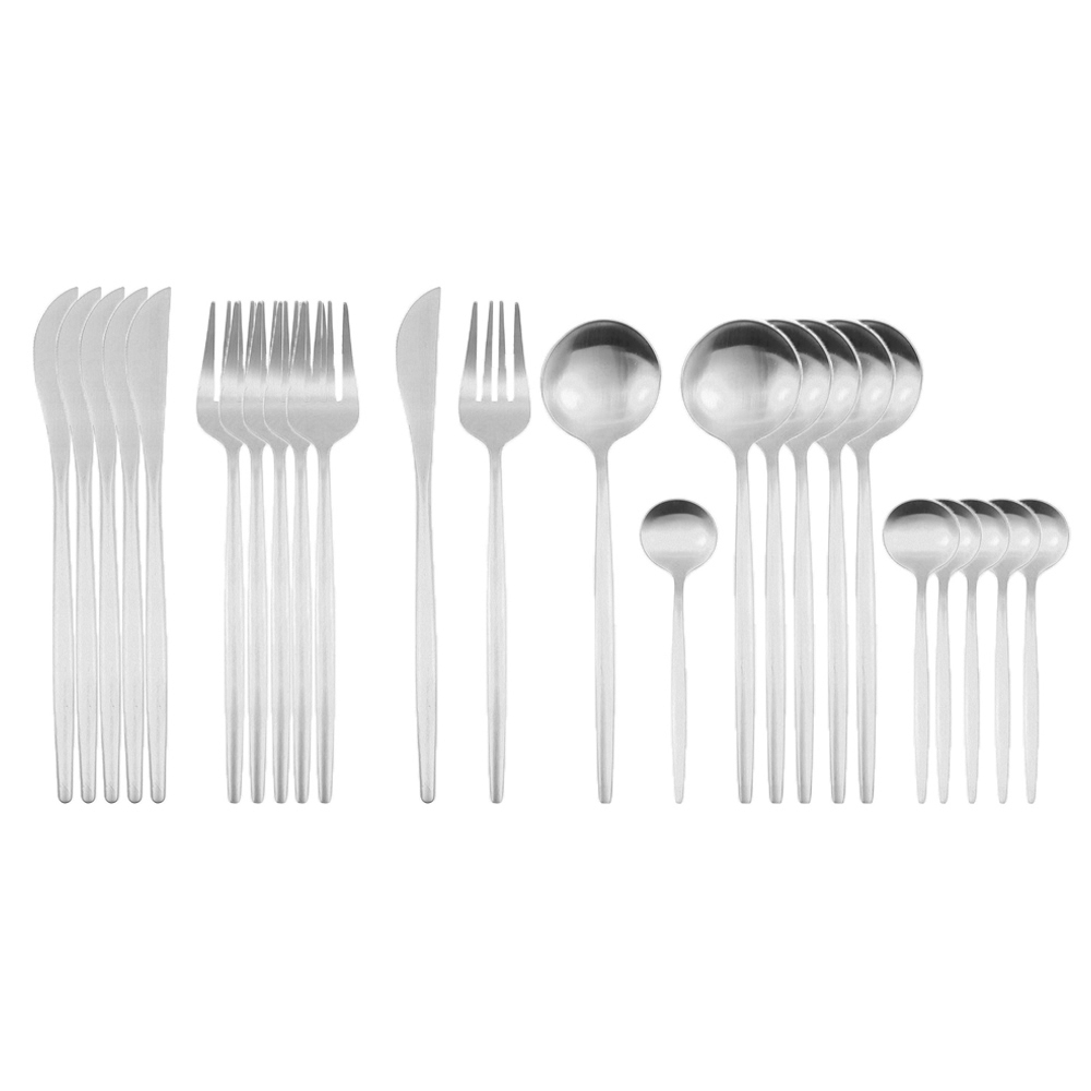 24Pcs/Sets Dinnerware Gold Cutlery Set 304 Stainless Steel Flatware Set Knives Fork Spoon Tableware Kitchen Dinner Silverware