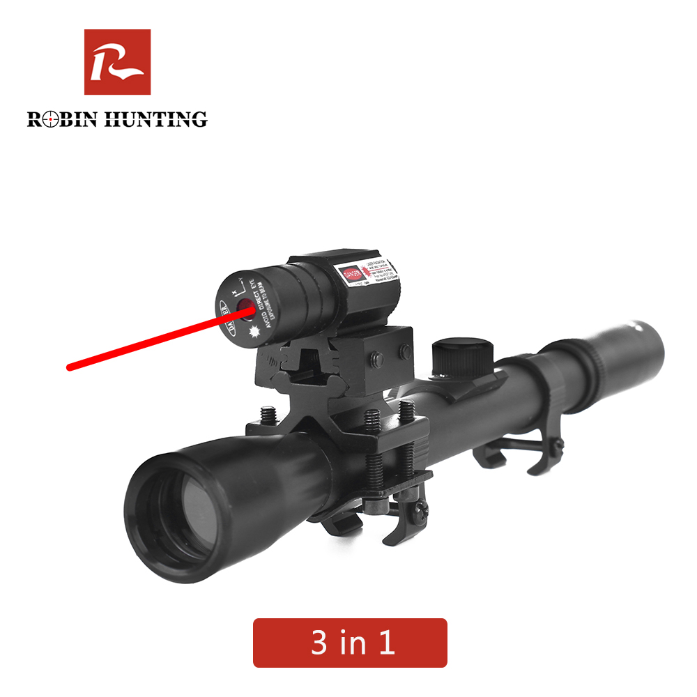 Robin Hunting 4x20 Rifle Optics Scope Tactical Crossbow Riflescope With Red Dot Laser Sight 11mm Rail Mounts For 22 Guns Hunting