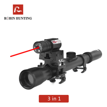 Robin Hunting 4x20 Rifle Optics Scope Tactical Crossbow Riflescope With Red Dot Laser Sight 11mm Rail Mounts for 22 Guns Hunting air telescopic gunsight riflescope tri 1 4x24 e rail red green illuminated tactical optics hunting shooting rifle scope