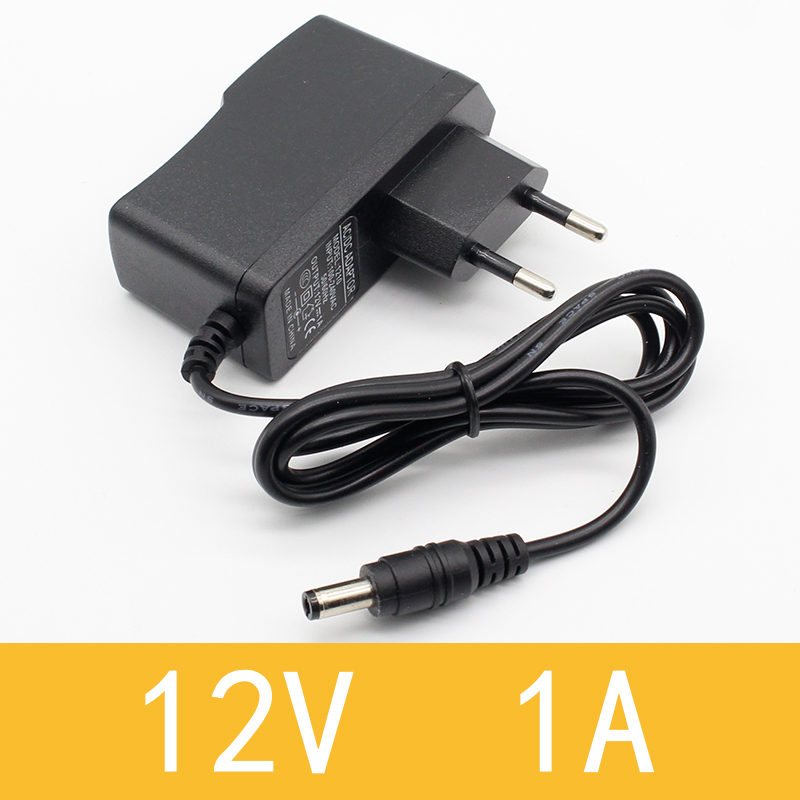 1PCS 12V1A New AC 100V-240V Converter power Adapter DC <font><b>12V</b></font> 1A <font><b>1000mA</b></font> Power Supply EU Plug DC 5.5mm x 2.1mm image