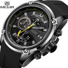 MEGIR moda męska zegarek Top marka luksusowy chronograf wodoodporny Sport męskie zegarki silikonowy automatyczny zegarek wojskowy data