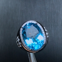 USPS Natural Big Blue Topaz Men's Ring, S925 Sterling Silver, Grain Gemstone Precious Stone Fine Jewelry with Certificate