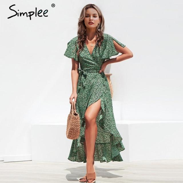 Simplee Leopard print kleid frauen Sommer schärpen lange grün split floral print strand kleid Sexy urlaub weibliche plus größe vestidos