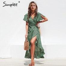 فستان صيفي للسيدات مطبوع عليه صورة الفهد من Simplee فستان شاطئ طويل أخضر مقسم عليه زهور فستان مثير مناسب لقضاء الإجازات مقاس كبير من vestidos