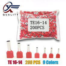 200pcs/Pack TE16-14 Insulated Ferrules Terminal Block Double Cord Copper Crimp terminal Wires 2x16.0mm2