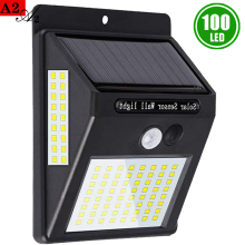 A2 100LED solar night light power lamp 1200mA outdoor Patio Wall Outside Garden Deck Back Yard Driveway Balcony Fence