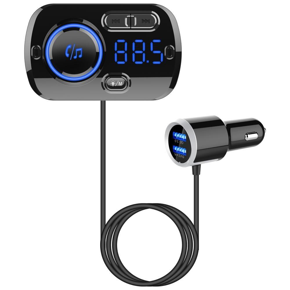 Bluetooth 5.0 Car Kit Handsfree FM Transmitter AUX Audio Car Player A2DP Wireless Car MP3 Player QC3.0 12V Dual USB Car Charger