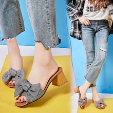 In The Summer Of 2019, New Korean Version Womens Shoes With Thick Plaid Bowknot Joker Fashion Square Slippers Tide25