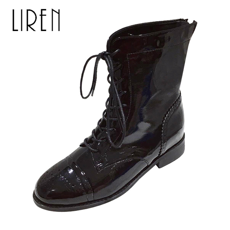 Liren 2019 New PU Lady Boots Spring/Autumn Women Fashion Sexy Mid-Calf Round Toe Square Low Heels