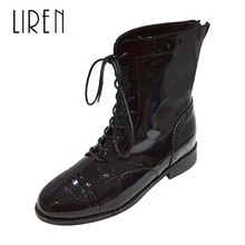 Liren 2019 New PU Lady Boots Spring/Autumn Women Fashion Sexy Mid-Calf New Boots Round Toe Square Low Heels Lady Fashion Boots цены онлайн