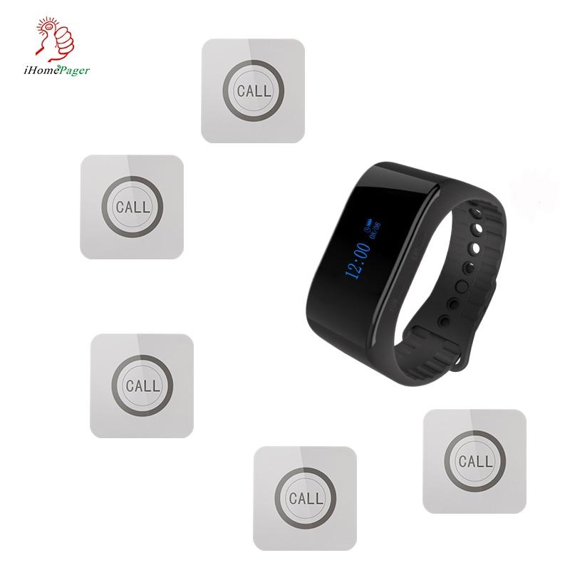 Висококачествена безжична система за пейджър услуга за бутони за разговори с приемник за часовник Ресторант Кафе болница 1 часовник 5 бутона