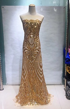 African Sequins Lace Fabric 2019 Gold High Quality Nigerian Tulle Lace Fabric For Party Dress French Lace Fabric JL2861