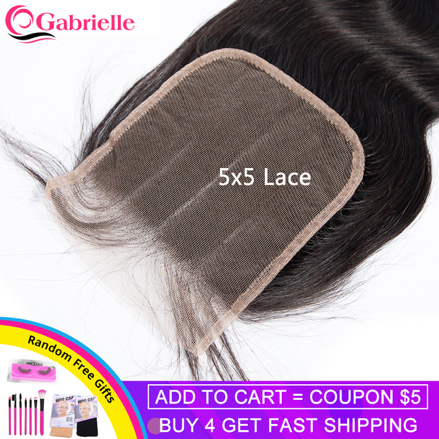 Gabrielle Remy Hair 5x5 Lace Closure Brazilian Body Wave Hair Natural Color 8 Inch Human Hair Free/Middle/Three Part Closure