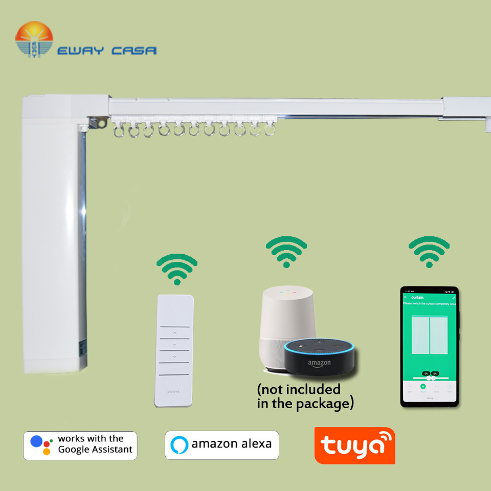 EWAY CASA Alexa&Google Home Tuya Motorized WiFi Curtain Track  Automatic Electric Curtain Track Smart Home CM_DSTUYA_TRACK1.2N