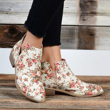 2019 Chic Summer Women Shoes Floral Print Ankle Boots Female Block V Character Casual Botas Mujer Booties Feminina Plus Size 43(China)