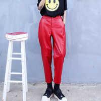 Pantalones a la moda de piel auténtica para mujer, pantalón bombacho largo de cintura alta, elegante, con bolsillos, 3XL