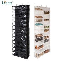 Przydatne w gospodarstwie domowym 26 kieszeń na buty organizator z półkami do przechowywania uchwyt  składana szafa na drzwi wiszące do oszczędzenia miejsca wiszący organizator na drzwi