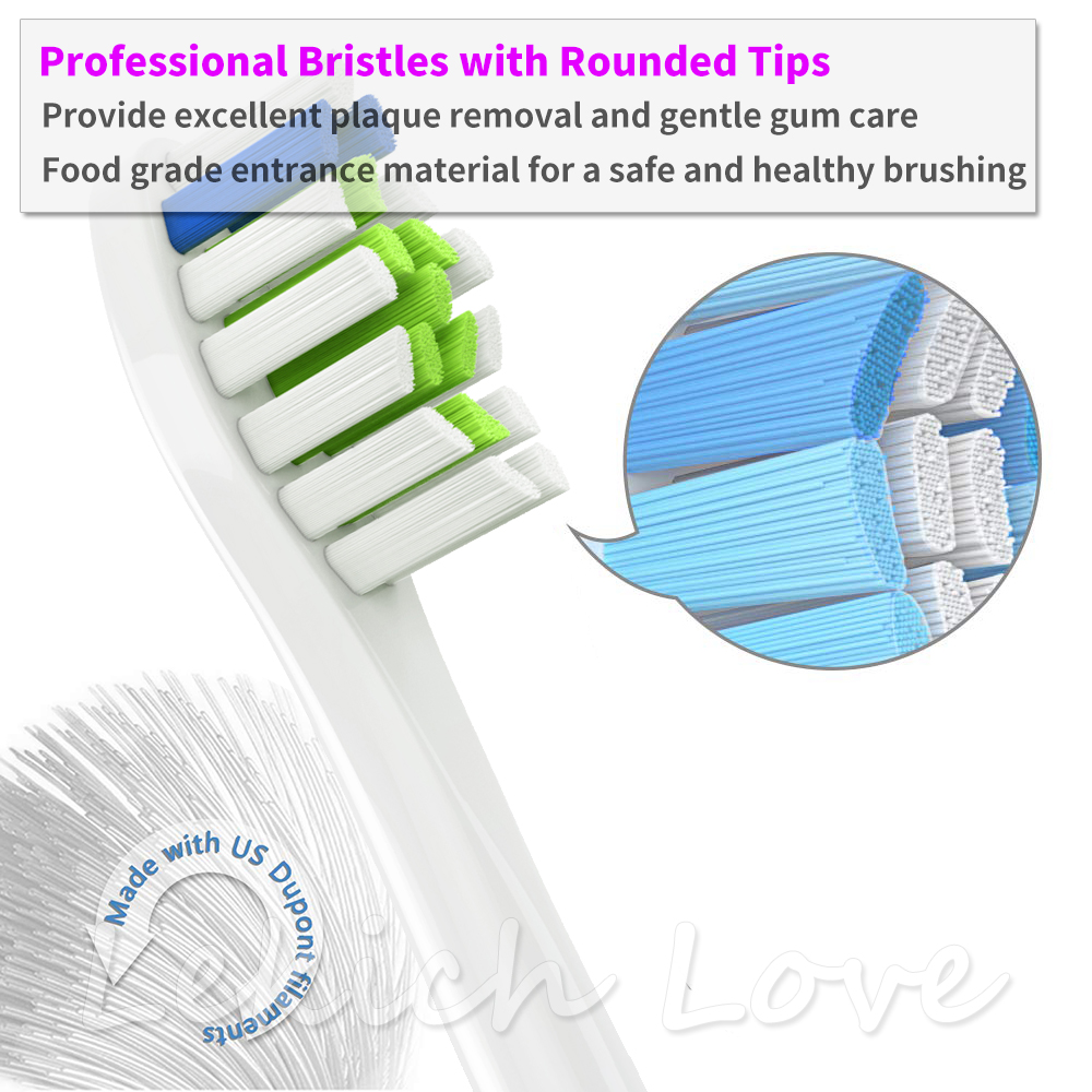 8Pcs Toothbrush Heads with 8Pcs Reusable Protective Covers for Philips Sonicare Brush Heads Fit for 2 Series 3 Series Gum Health