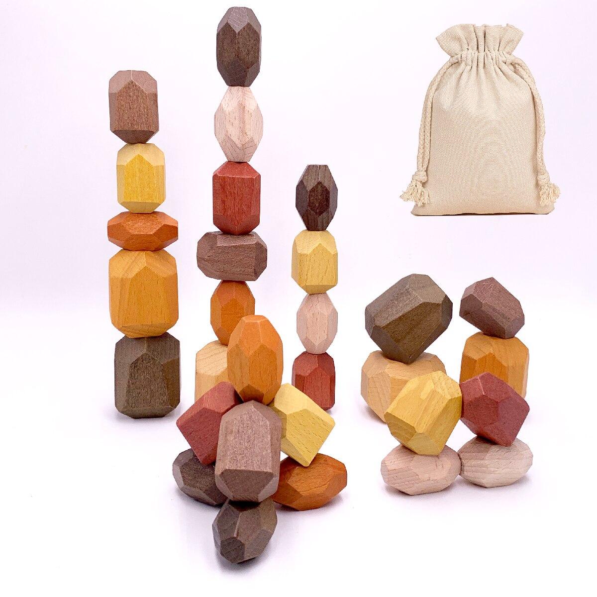 2020 bois empilage jouet roches pierres Tumi Ishi bois équilibrage empilé pierres Montessori jouet bloc couleur pierre livraison directe