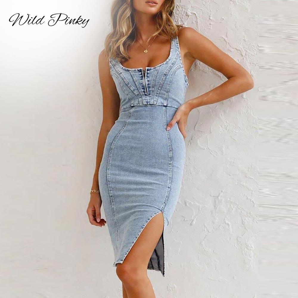 Fashion Casual Denim Bag Hip Dress