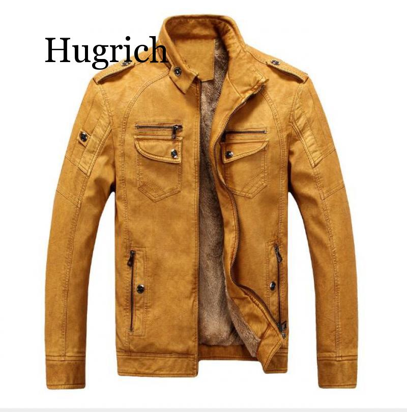 2020 Brand New Men Winter Leather Suede Thick Warm Fleece Lined Mens Bomber Jackets Male Jacket Suede Leather Jacket For Men
