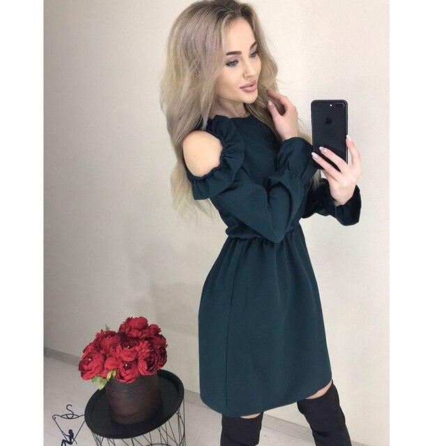 2019 Autumn Women Solid Ruffle Mini Dress Sexy Off Shoulder Long Sleeve Elastic Waist Dress Women Casual A Line Party Dresses 2