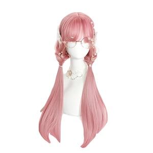 Image 3 - L email peruk uzun pembe Lolita peruk düz kadın saç sevimli Cosplay peruk Harajuku japon cadılar bayramı isıya dayanıklı sentetik saç