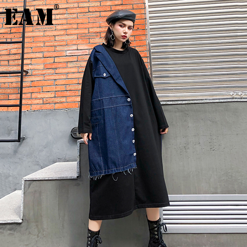 [EAM] Women Black Denim Split Joint Big Size Dress New Round Neck Long Sleeve Loose Fit Fashion Tide Spring Autumn 2020 1R795