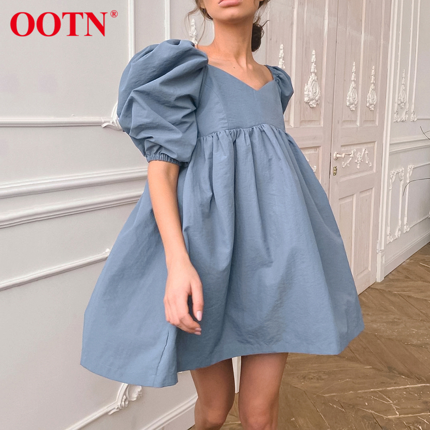 OOTN Square Neck Sexy Summer Mini Dress Short Sleeve Female High Waist Black Loose A Line Women Dress Puff Sleeve Blue Cotton