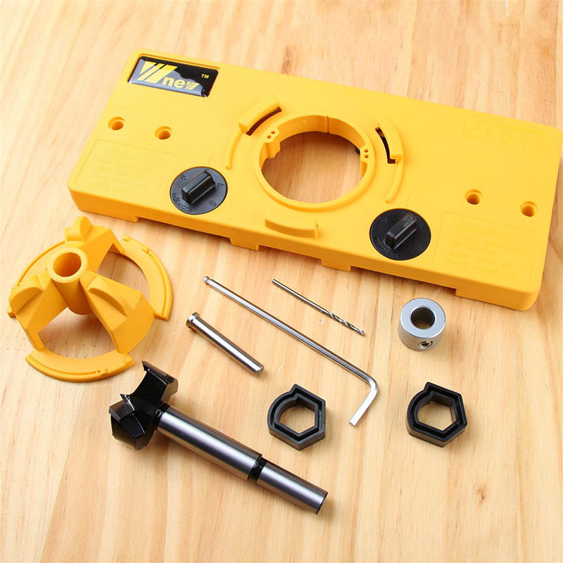 35MM Cup Style Hinge Boring Jig Drill Guide Set Door Hole Template For Wood Hole Locator Tool Hinge Jig Drill Guide Tool