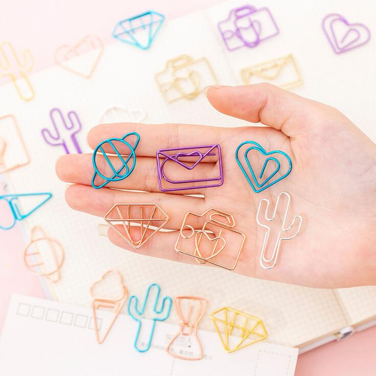 10pcs/lot Creative Kawaii Vintage Envelope Cactus Paper Clips Metal Bookmark Decorative File Memo Clips Office Stationery