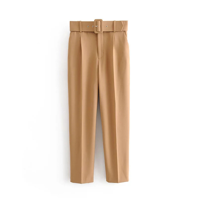 النساء موضة 5 ألوان طويلة ZA مستقيم السراويل الخريف 2019 الإناث الكاكي عالية الخصر مع حزام سراويل قطنية عادية الصلبة