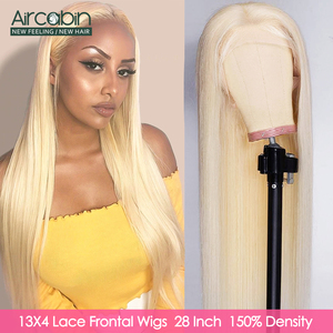 Aircabin 32 30 Inch Straight Blonde 4x4 & 13x4 Lace Front Wigs For Women Brazilian Remy Human Hair 613 Color Wigs 150% Density